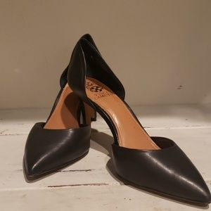 Vince Camuto black leather pumps.